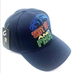 Shut up and fish hat adjustable navy blue